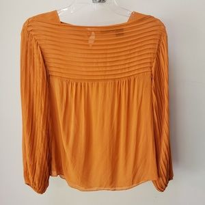 100% silk top blouse long sleeve orange XS fall